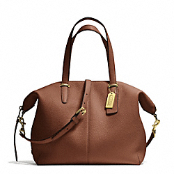 COACH F27930 Bleecker Pebble Leather Cooper Satchel BRASS/CHESTNUT