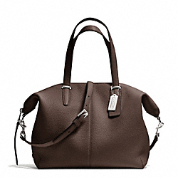 COACH F27930 Bleecker Pebbled Leather Cooper Satchel SILVER/MIDNIGHT OAK