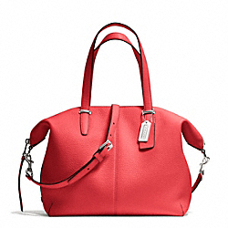 COACH F27930 Bleecker Pebbled Leather Cooper Satchel SILVER/LOVE RED