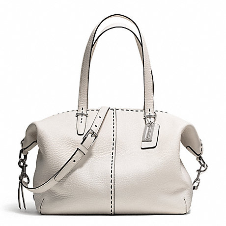 COACH F27955 BLEECKER STITCHED PEBBLED COOPER SATCHEL SILVER/PARCHMENT