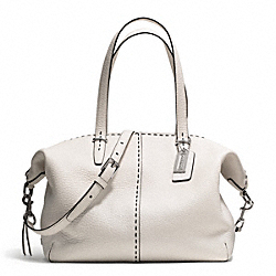 COACH F27955 - BLEECKER STITCHED PEBBLED COOPER SATCHEL SILVER/PARCHMENT