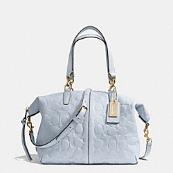 COACH F27963 Bleecker Embossed Logo Leather Small Cooper Satchel GOLD/POWDER BLUE