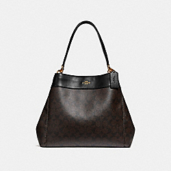 LEXY SHOULDER BAG IN SIGNATURE CANVAS - f27972 - BROWN/BLACK/light gold