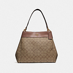 COACH F27972 Lexy Shoulder Bag In Signature Canvas KHAKI/SADDLE 2/IMITATION GOLD