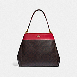 LEXY SHOULDER BAG IN SIGNATURE CANVAS - F27972 - BROWN/TRUE RED/LIGHT GOLD