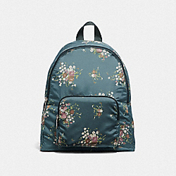 COACH F27977 Packable Backpack With Floral Bundle Print SILVER/MIDNIGHT MULTI