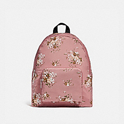COACH F27977 Packable Backpack With Floral Bundle Print VINTAGE PINK MULTI /SILVER
