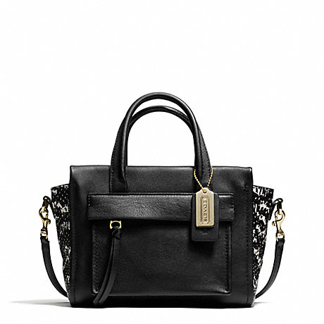 COACH f27987 BLEECKER TWO-TONE PYTHON EMBOSSED LEATHER MINI RILEY CARRYALL GOLD/BLACK