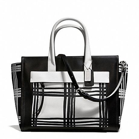 COACH F27992 BLEECKER PLAID PAINTED LEATHER LARGE RILEY CARRYALL SILVER/BLACK-MULTI