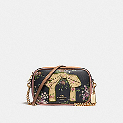 ISLA CHAIN CROSSBODY WITH FLORAL BUNDLE PRINT AND BOW - f28031 - navy/vintage pink/imitation gold