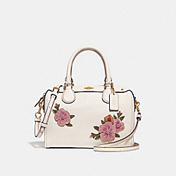 MINI BENNETT SATCHEL WITH FLORAL EMBROIDERY - f28075 - CHALK MULTI/IMITATION GOLD