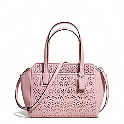 COACH F28081 Taylor Eyelet Leather Bette Mini Tote Crossbody SILVER/PINK TULLE
