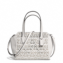 COACH F28081 Taylor Eyelet Leather Bette Mini Tote Crossbody SILVER/IVORY