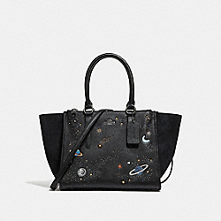 CROSBY CARRYALL WITH SPACE MOTIF - f28111 - ANTIQUE NICKEL/BLACK
