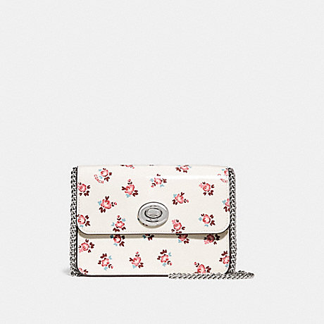 COACH F28184 BOWERY CROSSBODY WITH FLORAL BLOOM PRINT CHALK/SILVER