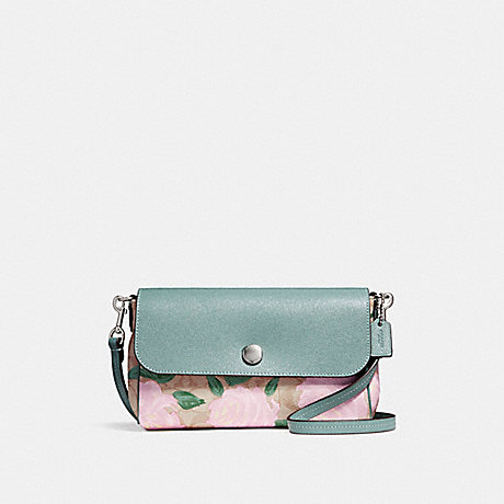 COACH f28188 REVERSIBLE CROSSBODY WITH CAMO ROSE FLORAL PRINT SILVER/LIGHT KHAKI BLUSH MULTI