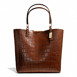 COACH F28293 - MADISON CROC EMBOSSED NORTH/SOUTH BONDED TOTE LIGHT GOLD/COGNAC
