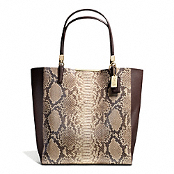 COACH F28294 - MADISON PYTHON EMBOSSED NORTH/SOUTH BONDED TOTE LIGHT GOLD/BROWN MULTI