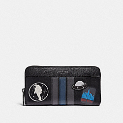 COACH F28297 Accordion Wallet With Varsity Space Patches BLACK