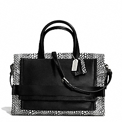 COACH F28303 - BLEECKER PAINTED SNAKE EMBOSSED LEATHER PINNACLE CARRYALL SILVER/BLACK/WHITE