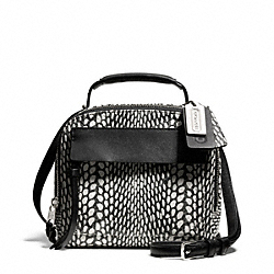 COACH F28306 Bleecker Painted Snake Embossed Leather Pinnacle Crossbody SILVER/BLACK/WHITE