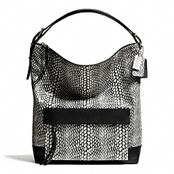 COACH F28308 Bleecker Painted Snake Embossed Leather Pinnacle Hobo SILVER/BLACK/WHITE