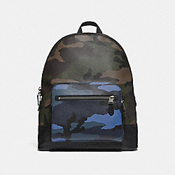 COACH F28309 West Backpack With Camo Print DUSK MULTI/BLACK ANTIQUE NICKEL