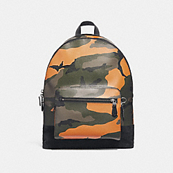 COACH F28310 West Backpack With Camo Print TANGERINE MULTI/BLACK ANTIQUE NICKEL