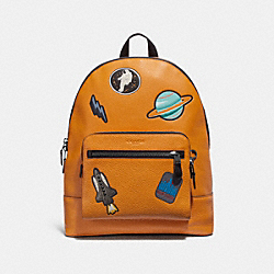 COACH F28311 West Backpack With Space Patches TANGERINE/BLACK ANTIQUE NICKEL