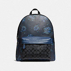 COACH F28312 Charles Backpack In Signature Canvas With Hawaiian Lily Print QBNI5