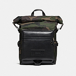 COACH TERRAIN ROLL TOP BACKPACK WITH CAMO PRINT - DARK GREEN MULTI/BLACK ANTIQUE NICKEL - F28318