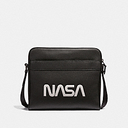 CHARLES CAMERA BAG WITH SPACE MOTIF - f28319 - ANTIQUE NICKEL/BLACK