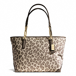 COACH F28364 - MADISON  EAST/WEST TOTE IN OCELOT JACQUARD  LIGHT GOLD/CHESTNUT