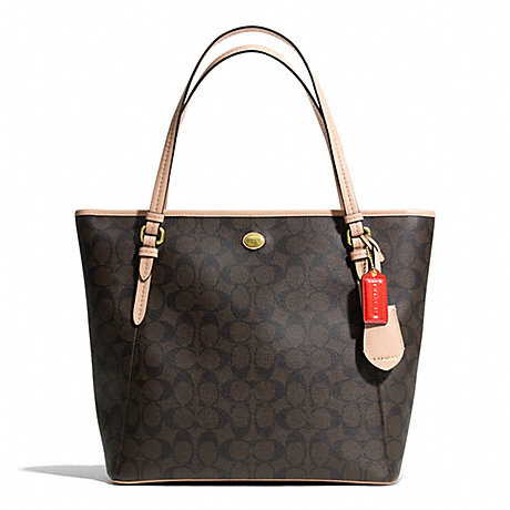 COACH F28365 PEYTON SIGNATURE ZIP TOP TOTE ONE-COLOR