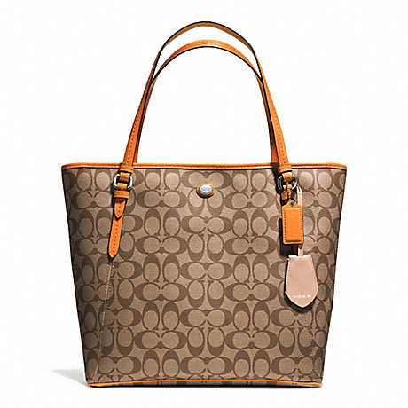 COACH F28365 PEYTON SIGNATURE ZIP TOP TOTE SVB10