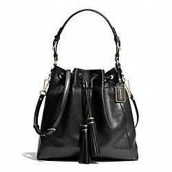 d8481caf03 MADISON LEATHER PINNACLE DRAWSTRING SHOULDER BAG - f28378 - LIGHT GOLD BLACK