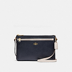 COACH F28382 - EAST/WEST CROSSBODY WITH POP-UP POUCH IN COLORBLOCK MIDNIGHT/CHALK/LIGHT GOLD