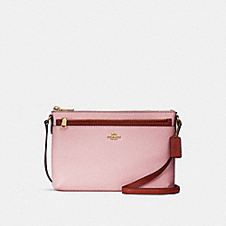 COACH F28382 - EAST/WEST CROSSBODY WITH POP-UP POUCH IN COLORBLOCK BLUSH/TERRACOTTA/LIGHT GOLD