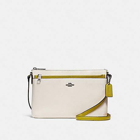 COACH f28382 EAST/WEST CROSSBODY WITH POP-UP POUCH IN COLORBLOCK<br>蔻驰EAST/WEST论与弹袋在拼色 白垩/沙特勒/黑色古董镍