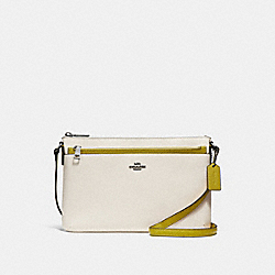 COACH F28382 - EAST/WEST CROSSBODY WITH POP-UP POUCH IN COLORBLOCK CHALK/CHARTREUSE/BLACK ANTIQUE NICKEL