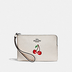 COACH F28384 Corner Zip Wristlet With Cherry Motif CHALK MULTI/SILVER