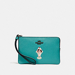 COACH F28385 Corner Zip Wristlet With Ice Cream Sundae Motif BLUE GREEN/BLACK ANTIQUE NICKEL