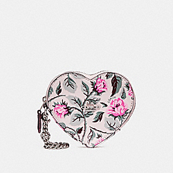 HEART COIN CASE WITH SLEEPING ROSE PRINT - f28403 - SILVER/MULTI