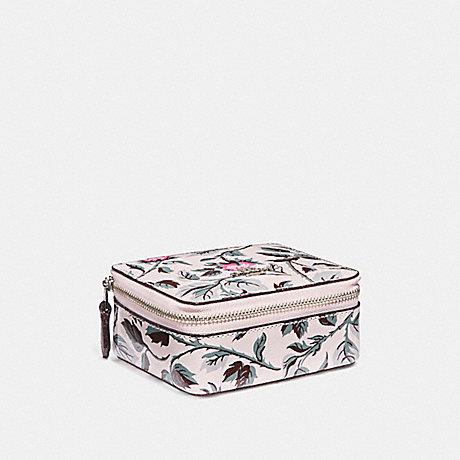 COACH JEWELRY BOX WITH SLEEPING ROSE PRINT - SILVER/MULTI - f28404