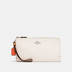COACH F28425 - DOUBLE ZIP WALLET IN COLORBLOCK CHALK MULTI/SILVER