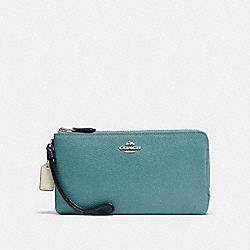 COACH F28425 Double Zip Wallet In Colorblock MARINE MULTI/SILVER