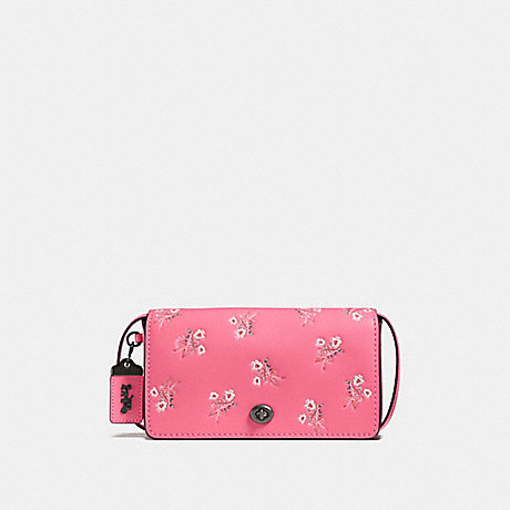 COACH F28433 DINKY WITH FLORAL BOW PRINT BRIGHT PINK/BLACK COPPER