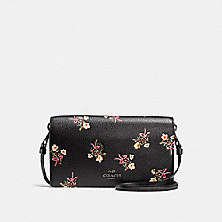 FOLDOVER CROSSBODY CLUTCH WITH FLORAL BOW PRINT - f28437 - BLACK/BLACK COPPER
