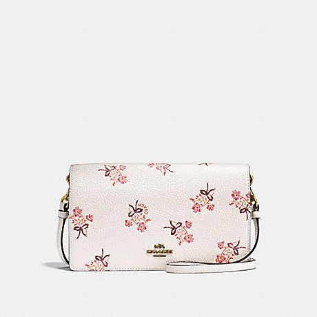 COACH F28437 FOLDOVER CROSSBODY CLUTCH WITH FLORAL BOW PRINT CHALK/OLD BRASS