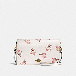 FOLDOVER CROSSBODY CLUTCH WITH FLORAL BOW PRINT - F28437 - CHALK/OLD BRASS